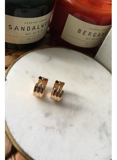 My Joyas Design Birleşik Üç Sıra Küçük Boy Küpe Altın